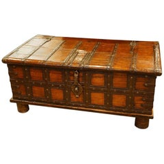 Antique Hardwood Iron Bound Merchants Chest