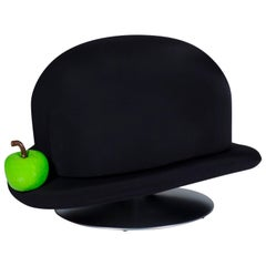 Magritte Turntable Unconventional Stool Black Bowler and Green Apple