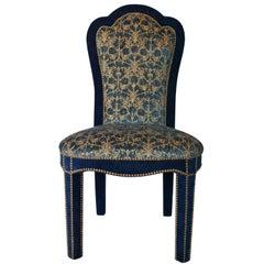 Titus Dining Chair in Brass Studded Velvet