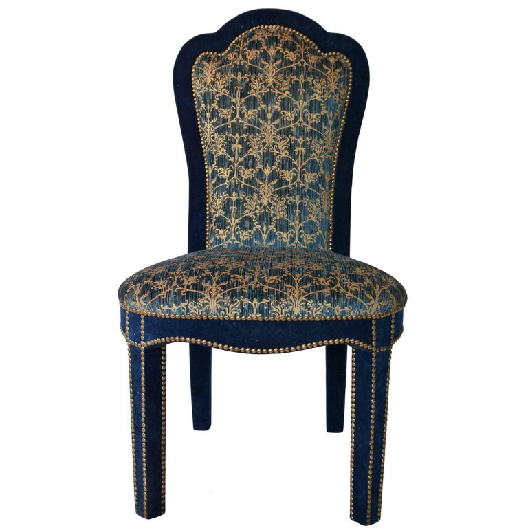 Titus dining chair in brass studded velvet at 1stdibs for Studded dining room chairs
