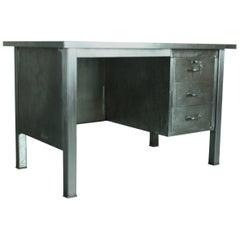 Vintage Stripped and Polished Steel Desk