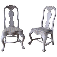 Pair of Swedish Late Baroque Chairs, 18th Century