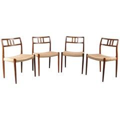 Set of Four Model 79 Dining Chairs by Møller, Denmark, circa 1960