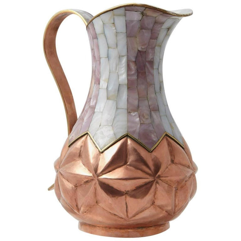 Los Castillo Taxco Hammered Brass and Silver Plate Pitcher with Abalone Inlays 1
