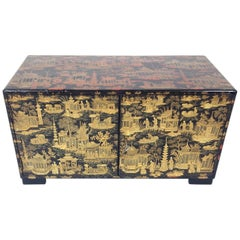 19th Century Chinese Export Ware Lacquered Two-Door Table Cupboard