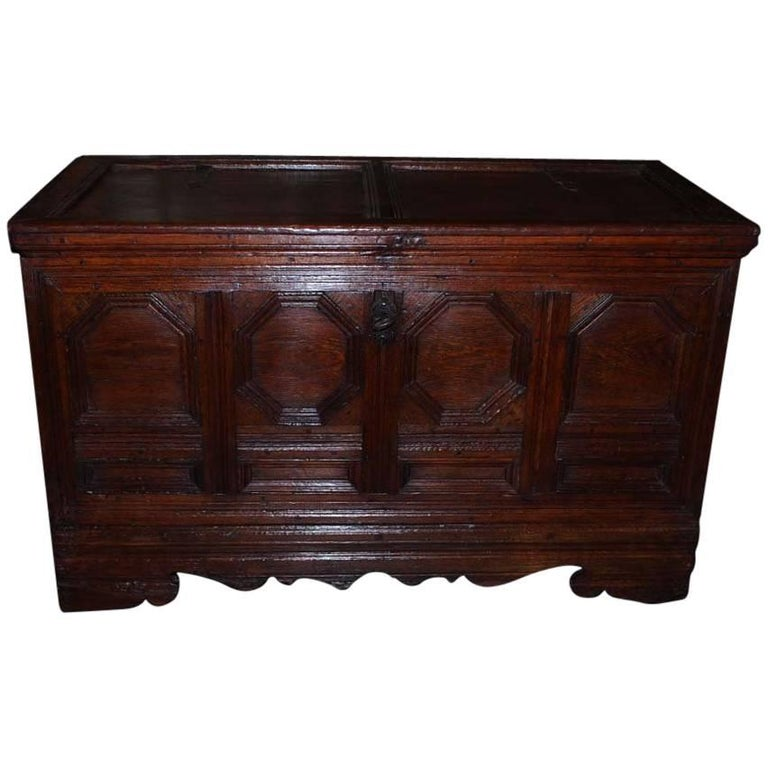 18th Century German Oakwood Chest For Sale