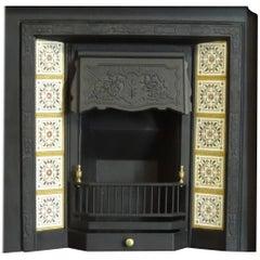 Irish 19th Century Victorian Cast Iron Tiled Fireplace Insert