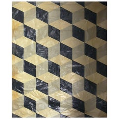 Large-Scale Geometric Painted Floor Canvas