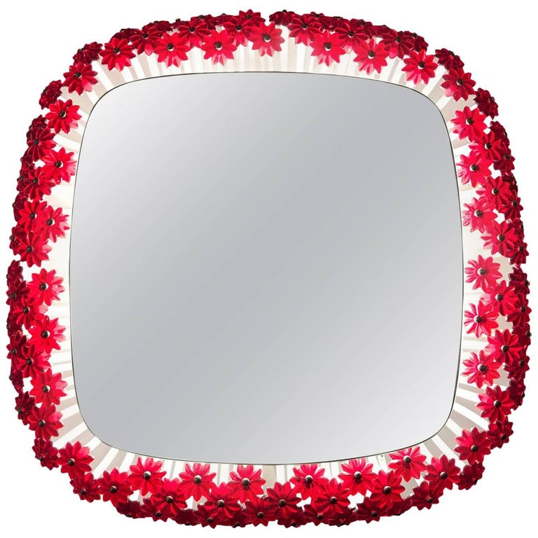 Emil Stejnar Back Lit Red Flower Mirror