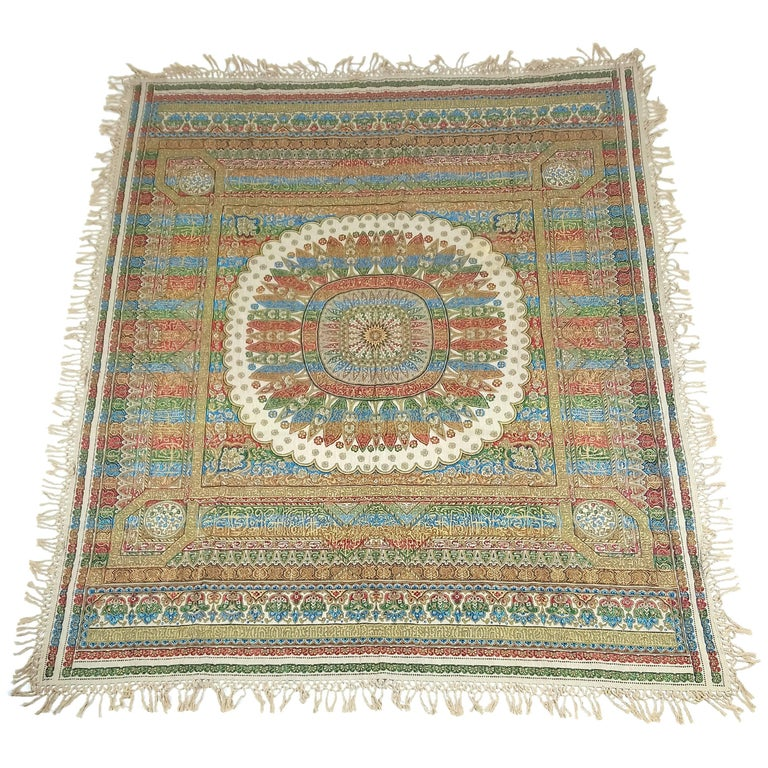 Early 20th Century Indian Worked Silk Wall Hanging or Bed Cover 1