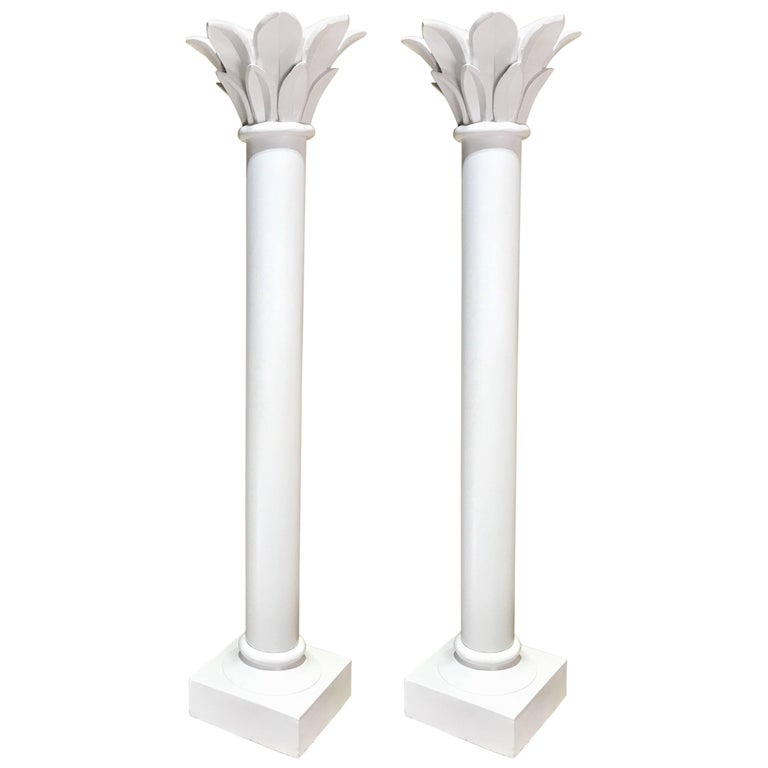 Pair of White Lacquered Corinthian Column Floor Lamps, Manner of Serge Roche