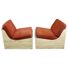 Pair of 1970s Platform Club Chairs