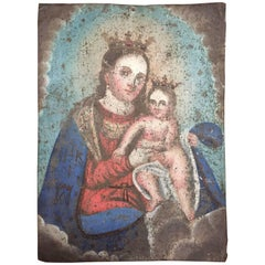 Antique Spanish Retablo Painting on Tin Maria and Child