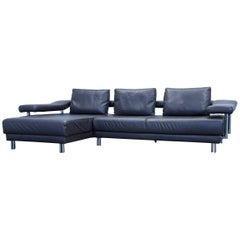Musterring Designer Cornersofa Leather Grey Anthrazit Function Couch Modern