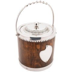 Victorian Oak and Silver Plated Biscuit Barrel, circa 1890