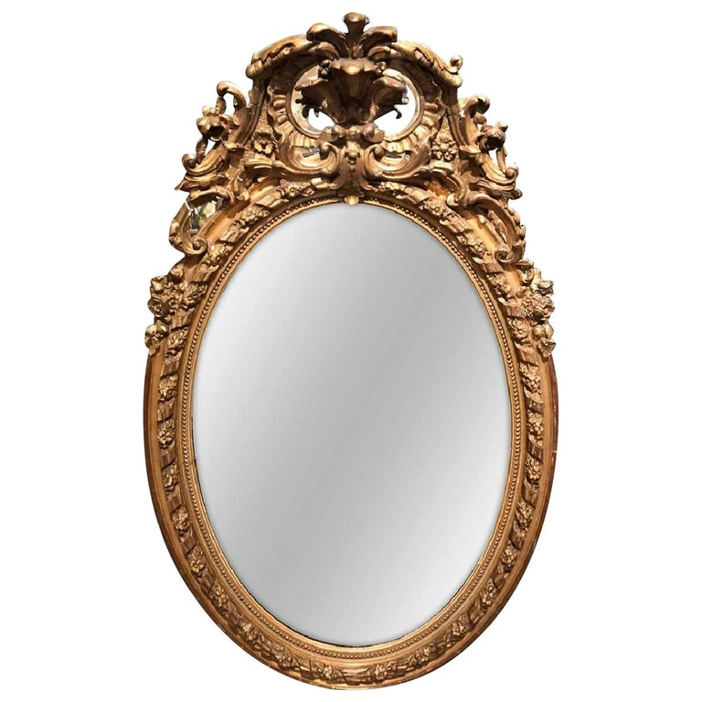 19th Century French Napoleon III Giltwood and Gesso Wall Mirror For Sale
