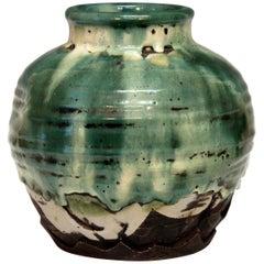 Awaji Pottery Manipulated Jar with Crawling Green Flambe Glaze