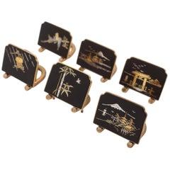 Set of Six Japanese Komai-Style Menu Holders, circa 1920