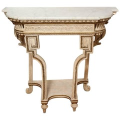 White Painted and Parcel Gilt Neo-Grec Wall Console