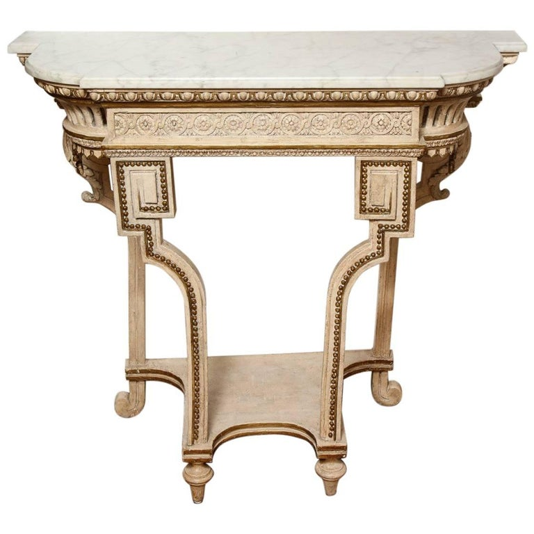 White Painted and Parcel Gilt Neo-Grec Wall Console 1