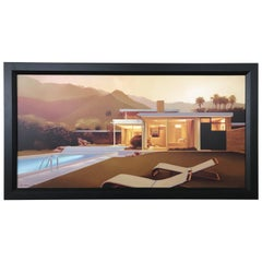 Listed Artist Carrie Graber Giclee on Canvas 'Kaufmann House' Richard Neutra