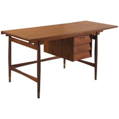 Writing Desk in Teak with Brass Feet