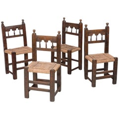 Four 17th Century Spanish Moorish Side Chairs
