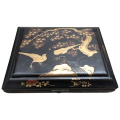 Japanese Black and Gold Lacquered Meiji Pheasant Box