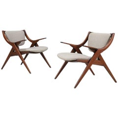 "Mid-Century Modern ""Scissor"" Lounge Chairs"