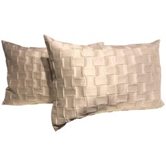 Silk Cushions Pleated Basket Weave Pattern Embossed Colour Oyster  Rectangular
