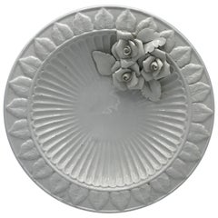 1970s Italian Ceramic Plate with Floral Motif Sculpture