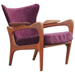 Modern Sculptural Adrian Pearsall Wingback Walnut Lounge Chair