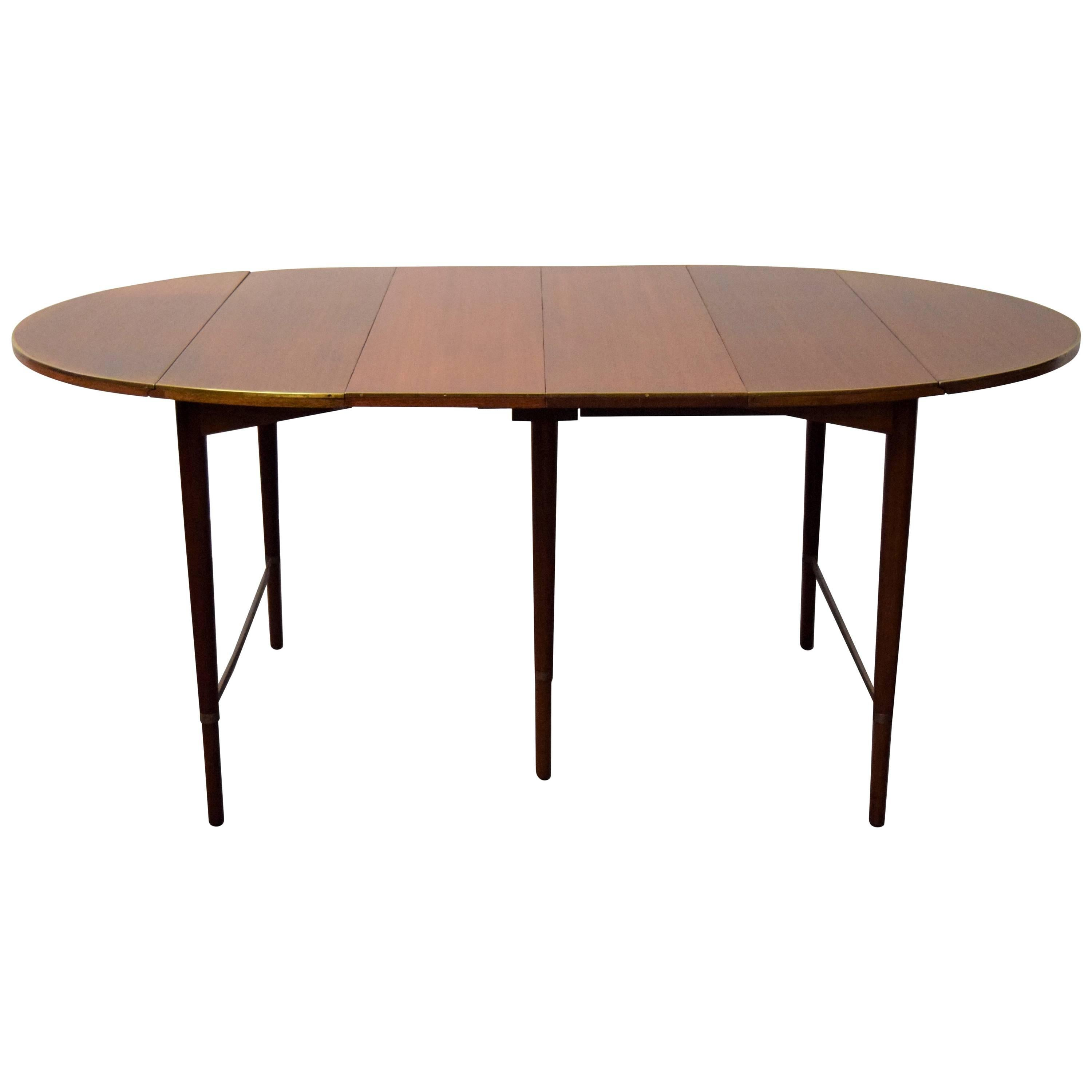 Charming Paul McCobb Connoisseur Collection Walnut And Brass Dining Table