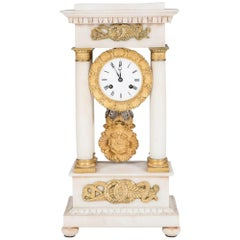 Marble and Alabaster Portico Clock with Gilt Bronze Mounts by Deschamps of Paris