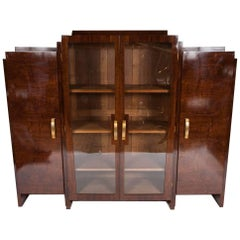 Art Deco Walnut Bookcase by Maison Krieger of Paris