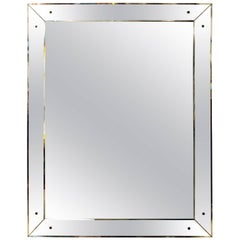 Large 1940s Style Vintage Mirror with Mirrored Frame