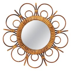 Unusual Mid-20th Century Saint Tropez Rattan Flower Burst Mirror, France, 1950s