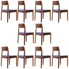 Set of Ten Brazilian Rosewood Dining Chairs by Italo Bianchi, Brazil, 1960s