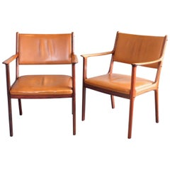 Pair of 1960s Rosewood Armchair Model PJ412 by Ole Wanscher for Poul Jeppesen