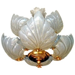 Italian Hollywood Regency Murano Glass Leaf Barovier Toso Midcentury Chandelier