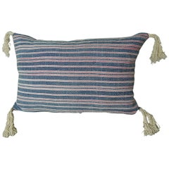 19th Century Antique French Faded Indigo Pink Striped Pillow with Tassels
