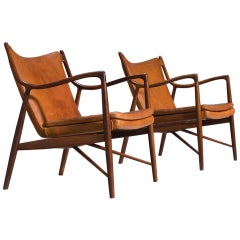 Finn Juhl for Niels Vodder Pair of NV45 in Original Cognac Leather
