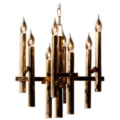 1960s, Brass Eight Lights Chandelier by Sciolari