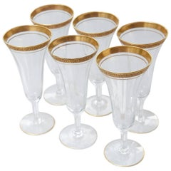 Early 20th Century Set of 6 Floral Gilt Rimmed Bohemia Crystal Champagne Flutes