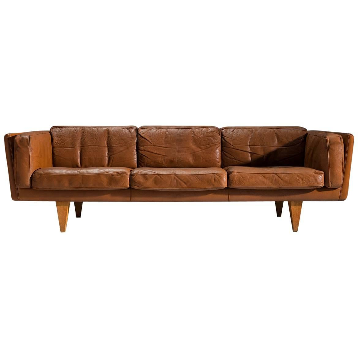 Illum Wikkelsø Restored Three Seat Sofa In Cognac Leather For Sale