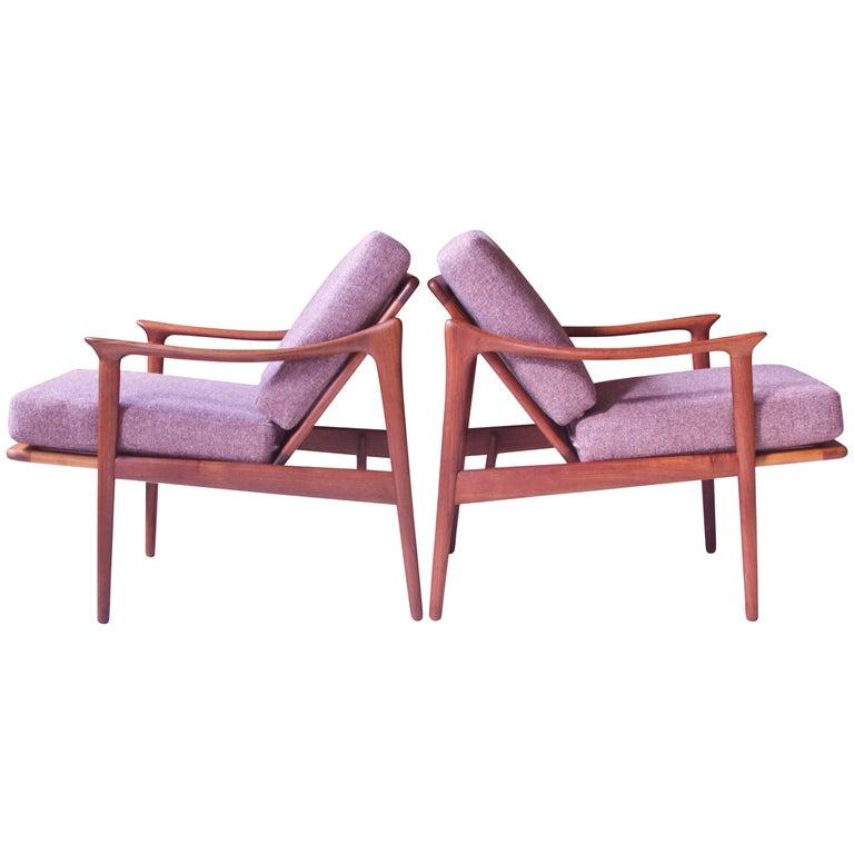 Pair of Fredrick A. Kayser Model-563 Easy Chairs in Teak and Wool; Norway, 1960s