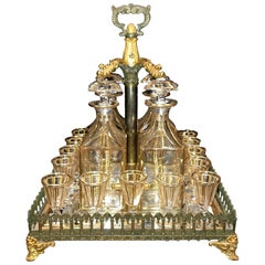 19th Century French Empire Design Bronze and Crystal Liqueur Set