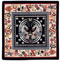 Small Square Tibetan Area Rug/Meditation Mat in Blues