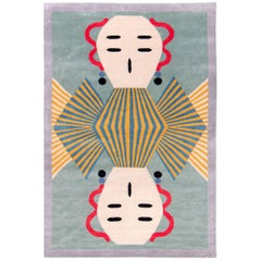 Graphic Silk Rug 'Dhading' by Alessandro Mendini
