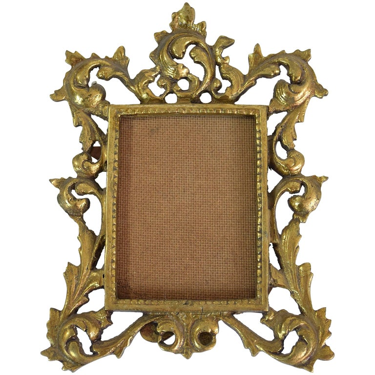 Antique Gilded Bronze Picture Frame For Sale